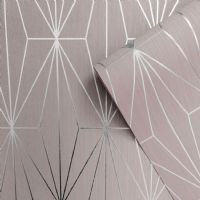 Muriva Kayla Luxury Geometric Blush & Silver 703012 Wallpaper